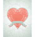 valentine lovely pink heart with grey ribbon vector image vector image