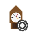 wall clock and gear icon vector image vector image