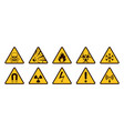 warning signs realistic caution icons yellow and vector image vector image