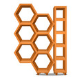 wooden rack in the form of honeycomb isolated on vector image vector image