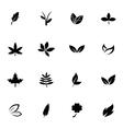 black leaf icons set vector image