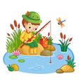 the boy sits and catches fish in a pond vector image