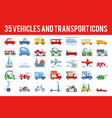 35 vehicle and transport flat icons vector image vector image