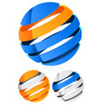 3d spheres globes with lines - abstract 3d design vector image