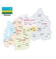 administrative map rwanda with flag vector image vector image