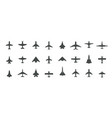 aircraft top view icon set set black vector image vector image