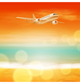 Background with sea and airplane in the sky vector image vector image