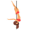 beautiful pole dancer girl in red bikini fitness vector image