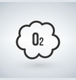 black o2 cloud oxygen icon isolated on white vector image vector image