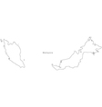 Black White Malaysia Outline Map vector image vector image