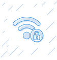 blue wifi locked sign line icon isolated on white vector image vector image