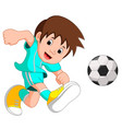 boy cartoon playing football vector image vector image