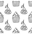 cakes sweet dessert black and white seamless vector image vector image