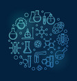 chemistry education blue outline round vector image vector image