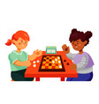 children playing checkers - colorful flat design vector image vector image