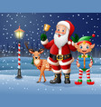 christmas background with santa claus deer elf vector image vector image