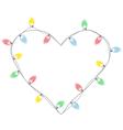 Christmas lights like heart isolated on white vector image
