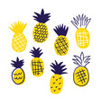 colorful minimalistic pineapples isolated vector image vector image