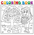 coloring book girl with collected apples vector image vector image