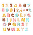 cookies with colorful glaze set alphabet and vector image