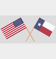 crossed flags of united states and texas state vector image vector image
