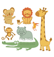 Cute exotic animals vector image vector image