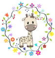 cute giraffe in a flowers frame vector image vector image