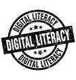 digital literacy round grunge black stamp vector image vector image