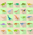 dinosaur types signed name icons set flat style vector image