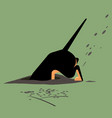 dog digs a hole vector image vector image