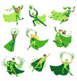 eco superhero characters in action set young men vector image vector image