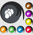 eggs icon sign Symbols on eight colored buttons vector image vector image
