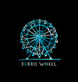 ferris wheel at night sketch for your design vector image