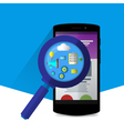 Flat magnifier with seo icons vector image