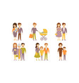 flat set of family portraits parents with vector image