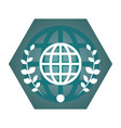 geometric globe flat icon vector image