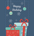 gift boxes balls celebration happy christmas vector image