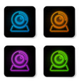 glowing neon web camera icon isolated on white vector image vector image