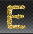 gold glittering letter e shining golden vector image vector image