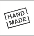 hand made - rectangle grunge stamp or insignia vector image