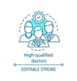 high qualified doctors concept icon vector image vector image