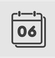 icon calendar day number 6 line flat vector image vector image