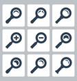 isolated magnifier glass icons set search zoom vector image