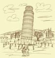 leaning tower pisa vintage vector image