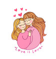 lesbian family concept kiss and hug pregnant vector image vector image