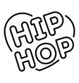 love heart hip hop icon outline style vector image