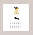 may dog 2018 year calendar vector image vector image
