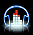 neon icon musical equalizer and headphones vector image vector image