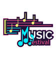 neon music festival music note background i vector image vector image
