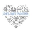 online poker heart concept linear vector image